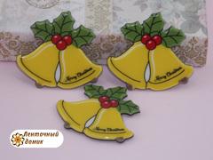 Плоский  декор Рождественский колокольчик на черном фоне (глянец)