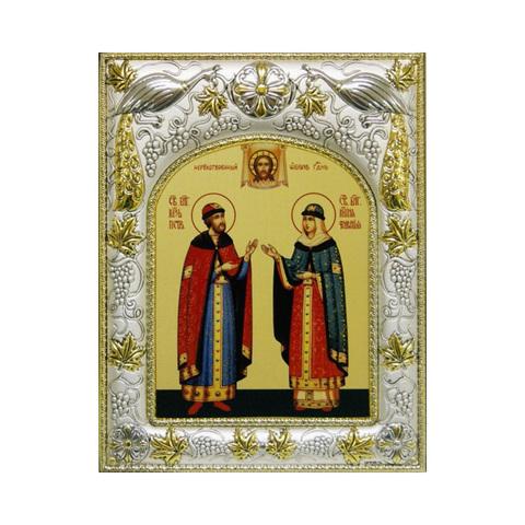 Икона именная Петр и Феврония Муромские 18x14см