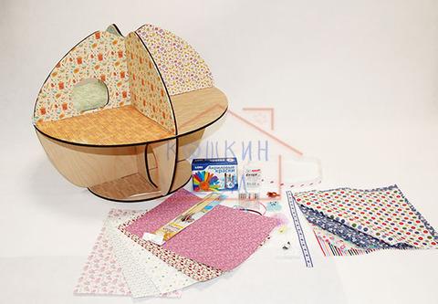 """Домик для кукол """"Яблоко"""" с набором для изготовления штор и обоями"""
