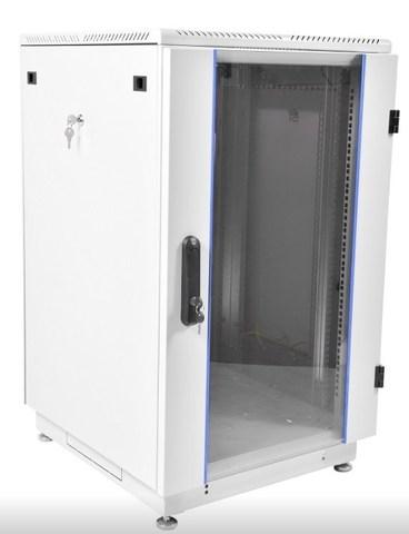 Шкаф телекоммуникационный напольный 27U (600 × 800) дверь стекло, цвет чёрный