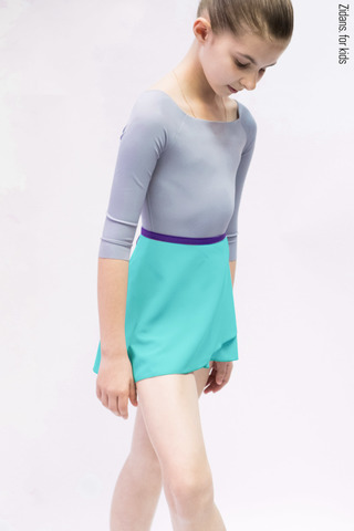 Menthol wrap chiffon skirt with violet contrast ribbon