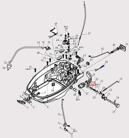 Втулка ручки п-п для лодочного мотора F9.8 Sea-PRO (2-24)