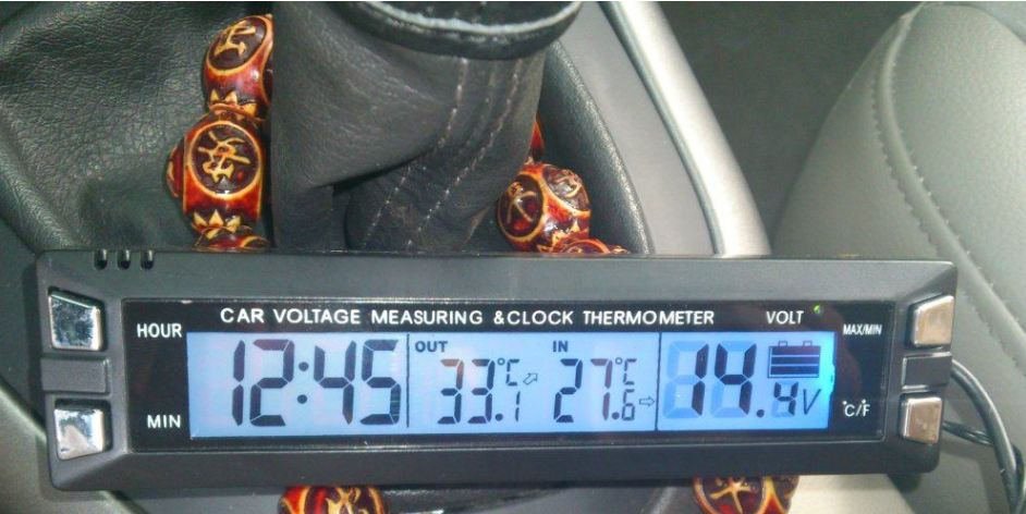 Automotive voltage alarm gauge meter + internal temperature + external temperature + voltmeter + car thermometer
