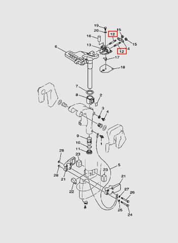 Шпилька кронштейна для лодочного мотора T15, OTH 9,9 SEA-PRO (14-12)