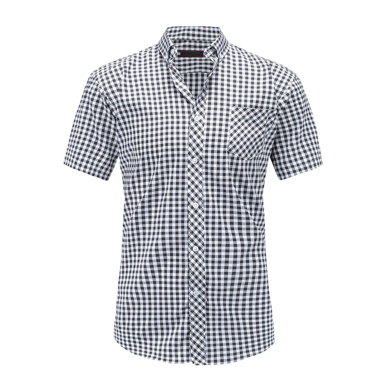 мужские рубашки Мужская рубашка в клетку с коротким рукавом Slim Fit 9141367875_1675244096.jpg