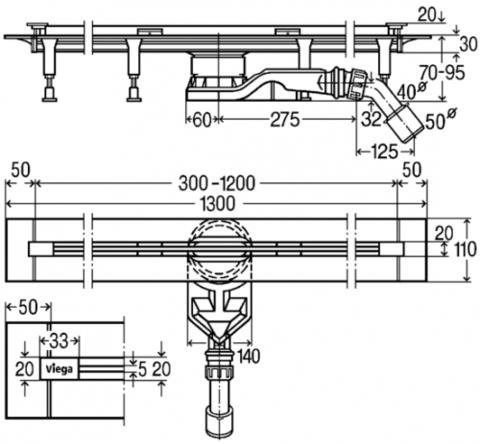 Viega Advantix Vario душевой лоток, щелевой (супеплоский), универсальные габариты 300-1200мм, регулируемая высота 70–95мм, с заглушками, опорами, сифоном (721671)