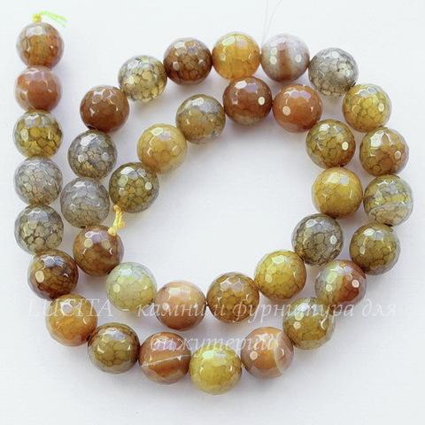 """Бусина Агат """"Вены дракона"""", шарик с огранкой, цвет - оливково-желтый, 10 мм, нить"""