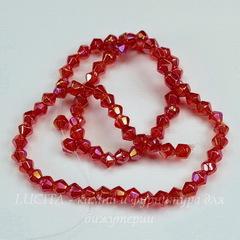 Бусина стеклянная, биконус, цвет - темно-красный с AB-покрытием, 4 мм, нить