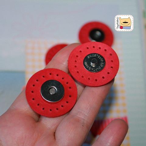 Кнопка магнитная кожаная пришивная 30мм LK30-C (красная)