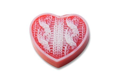 Сердце вязаное, силиконовая форма
