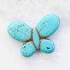"""Бусина Говлит (тониров), """"Бабочка"""", цвет - бирюзовый, 35х25х6 мм"""