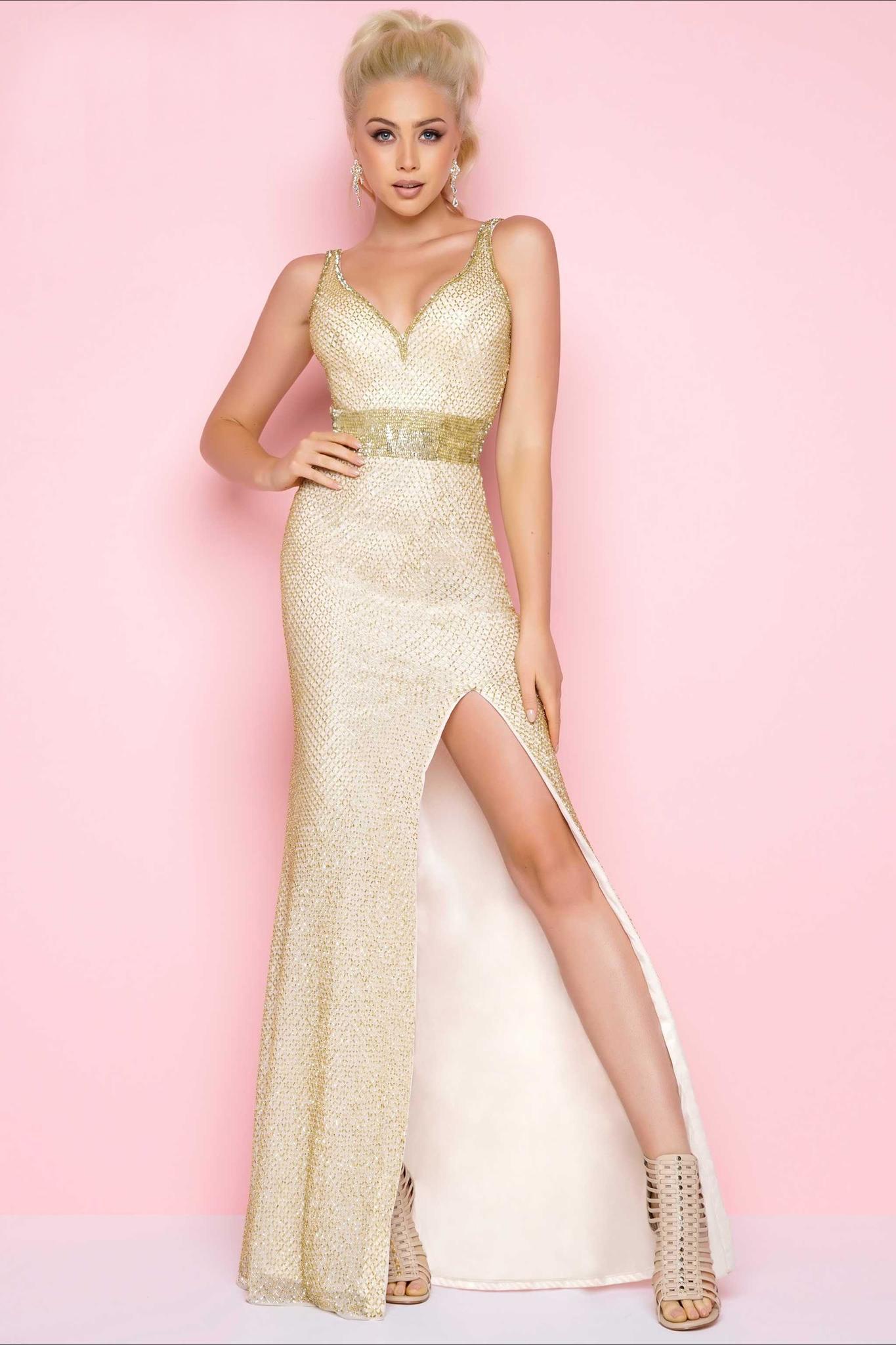 Длинное платье Mac Duggal 17260 с разрезом по ноге, золотое с стразами