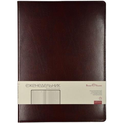 Еженедельник недат,коричнев,A4,222х302мм,64л,Br.V.PROFI