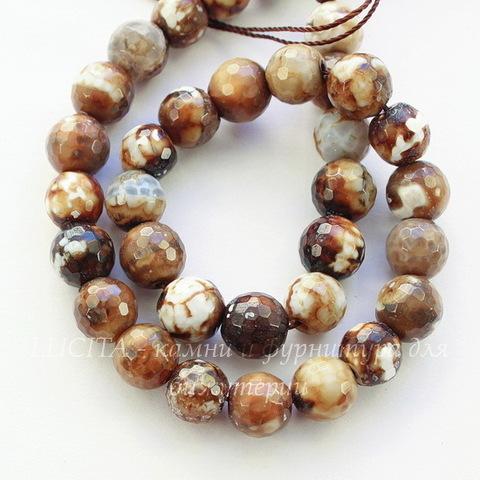 Бусина Агат цветочный, шарик с огранкой, цвет - темно- коричневый, 10 мм, нить