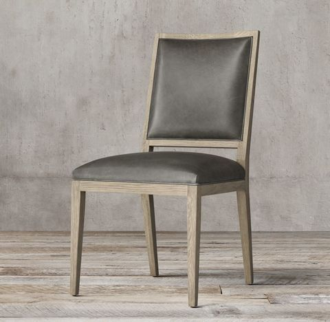 French Contemporary Square Leather Side Chair