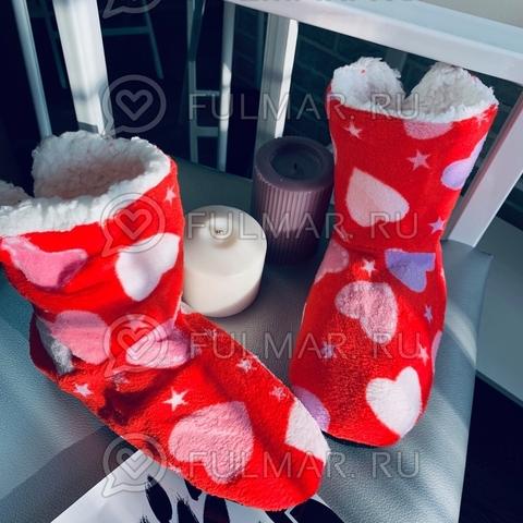 Тапки-сапожки женские Сердечки и звезды (цвет: Красный)