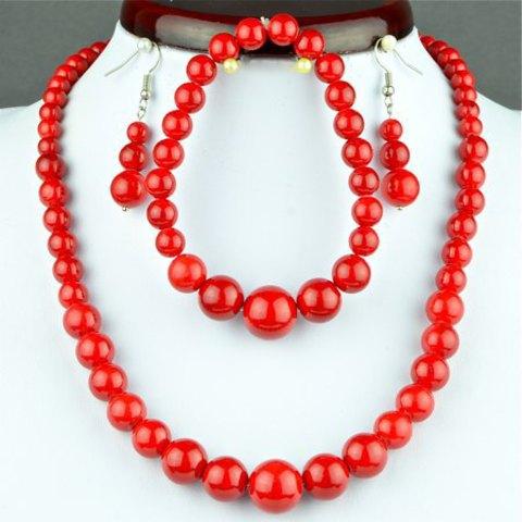 Набор Бусы-браслет-серьги Красный коралл