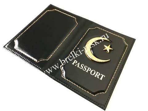 Обложка для паспорта из натуральной гладкой кожи с Полумесяцем и Звездой. Цвет Черный