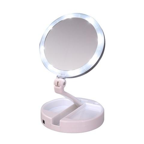 Настольное двухстороннее косметическое зеркало с подсветкой и с 10-...