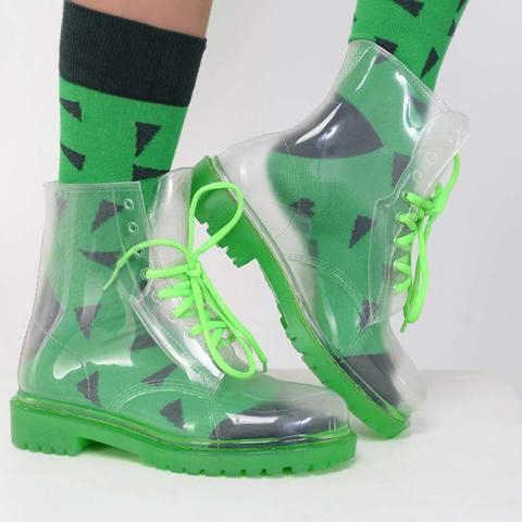 Прозрачные ботинки Invisible-Shoes Зеленые