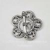 "Замок - тоггл из 2х частей ""Ажурный цветок"" (цвет - античное серебро) 25 мм"