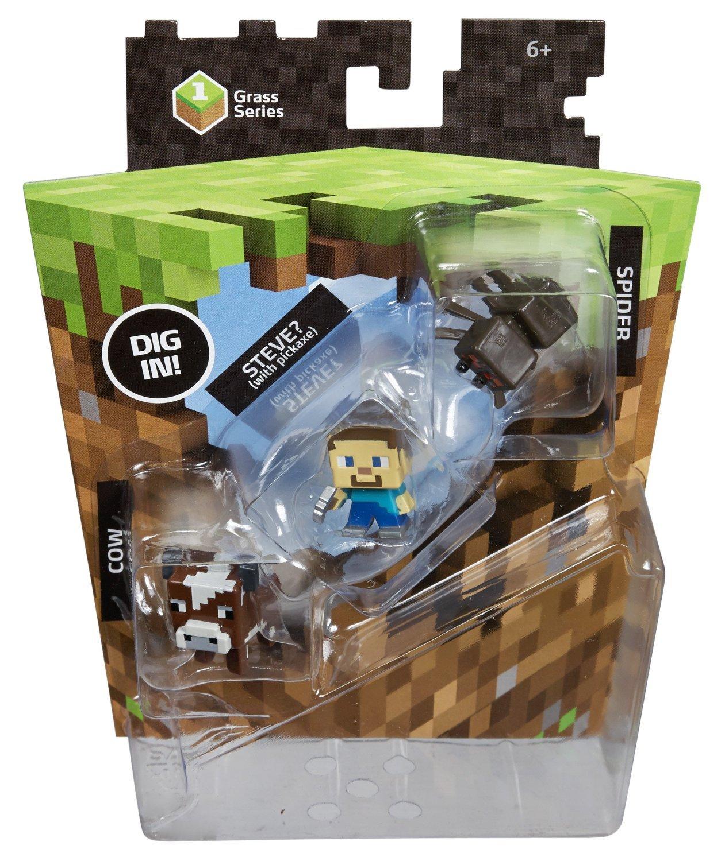Мини-фигурки Майнкрафт (Minecraft) Стив, Паук и Корова