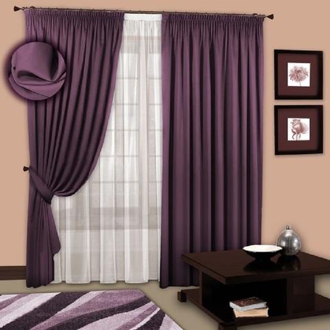 Комплект портьер блэкаут и тюль  Виолетта  фиолет