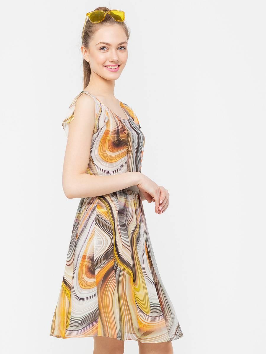 Платье З095-139 - Летнее, воздушное платье, станет незаменимой и любимой моделью на лето.  Изготовлено из яркого шифона с нижней трикотажной  юбкой в комплекте. Спущенная линия плеча с разрезами на рукавах, в комплекте пояс на пуговицах, из ткани в тон. Хорошо смотрится как с обувью на каблуках, так и на плоской подошве.