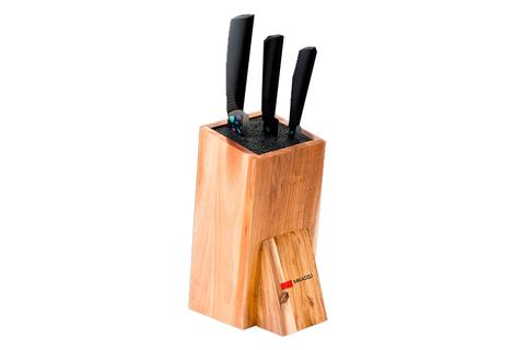 Набор из 3 кухонный керамических ножей Mikadzo Imari Black и универсальной подставки