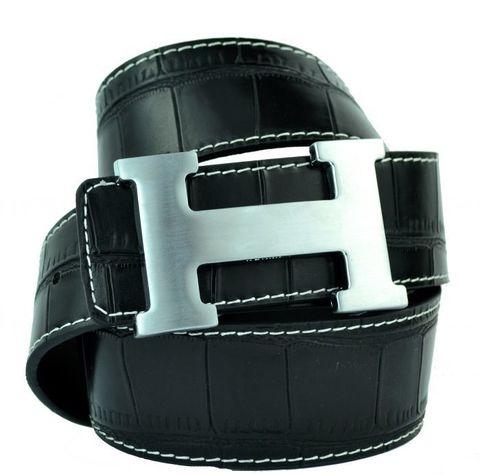 Модный оригинальный брендовый мужской джинсовый прошитый чёрный ремень HERMES (Гермес) 40 мм из искусственной кожи под крокодила 40brend-KZ-064