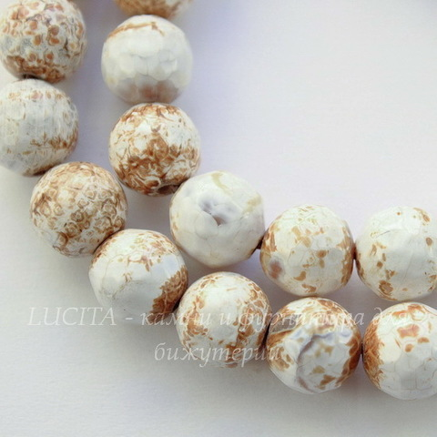 Бусина Агат (тониров), шарик с огранкой, цвет - белый с коричневым, 10 мм, нить