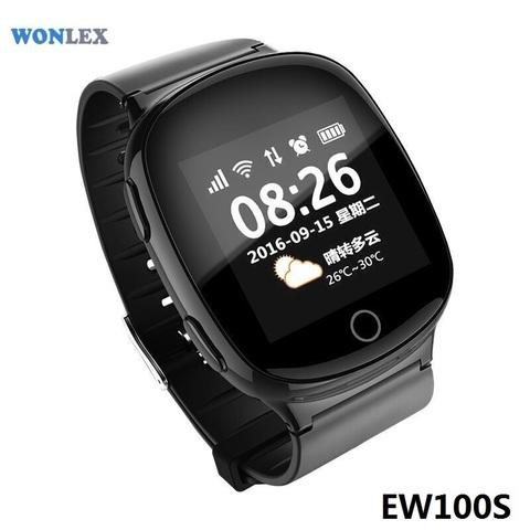 Часы с GPS трекером Smart Baby Watch EW100S (Черный) вид спереди под углом