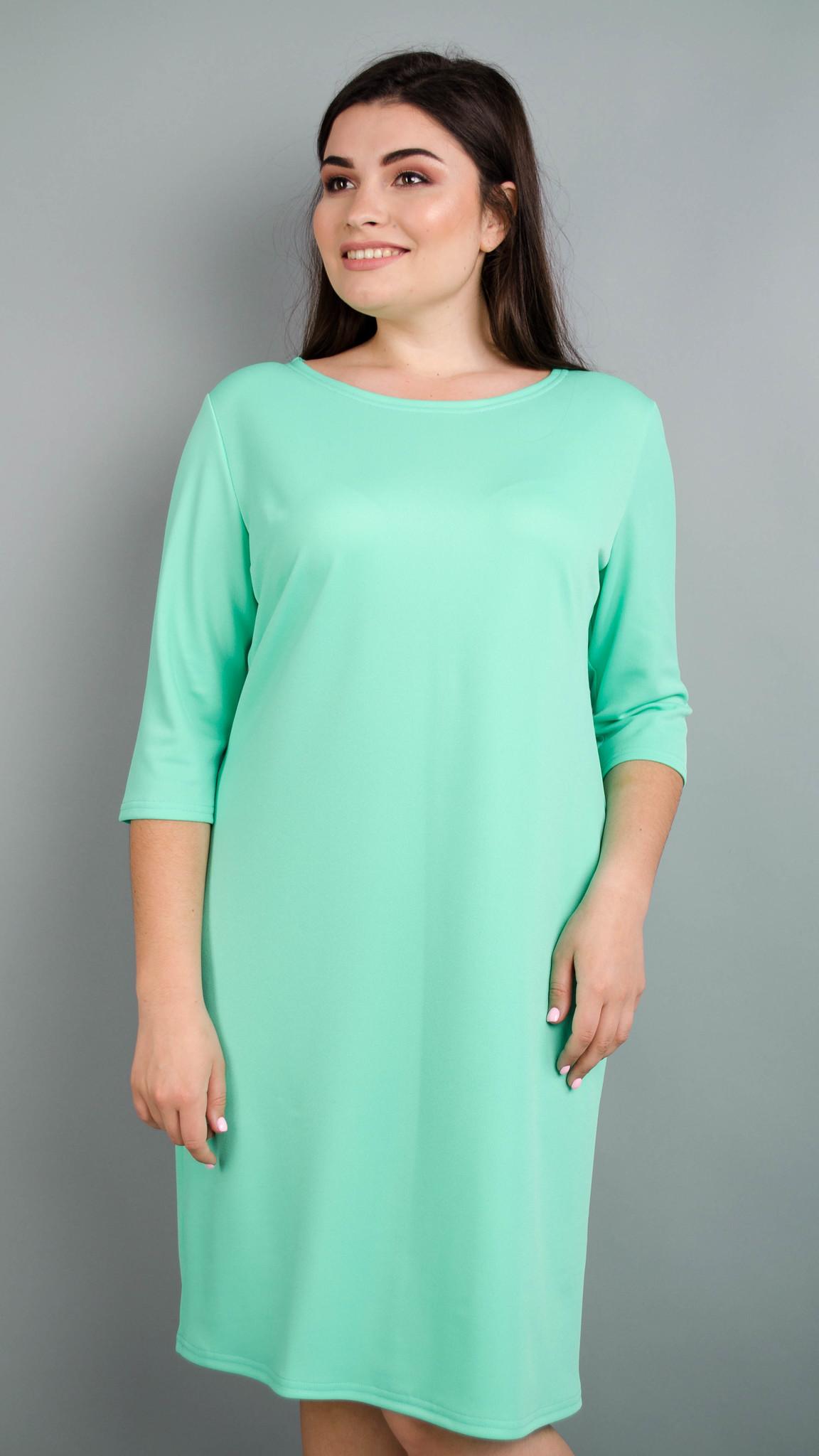 Аріна креп. Універсальна сукня великих розмірів. М'ята.