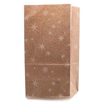 Крафт-пакет с рисунком Снежинки, размер 19*10*7 см