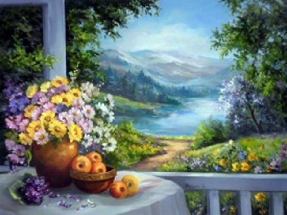 Картина раскраска по номерам 40x50 Цветы в вазе на фоне ...