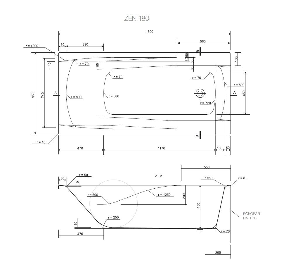 Акриловая ванна ZEN 180