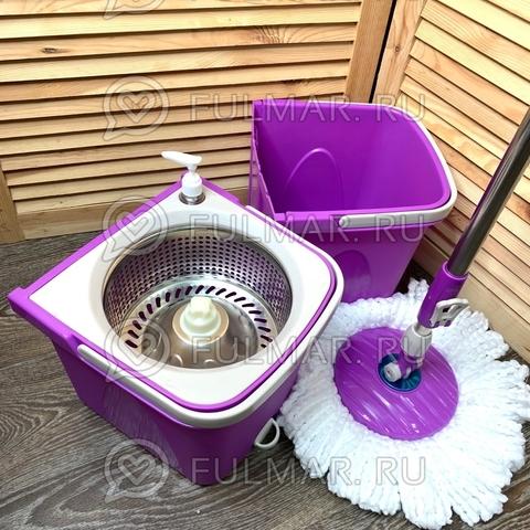 Швабра и двойное ведро для отжима и полоскания Split Bucket Spin Mop Сиреневое