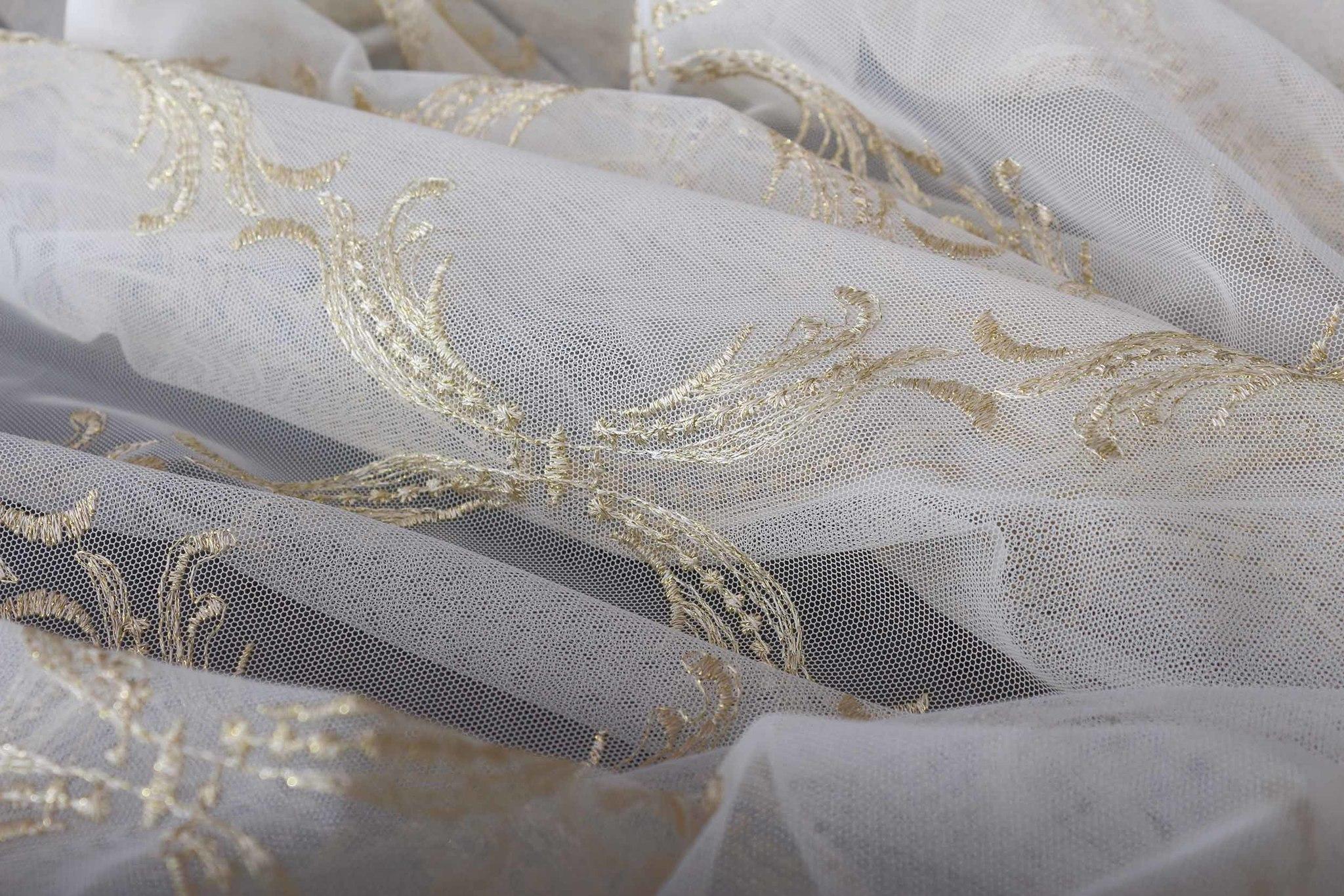 Микросетка с вышивкой Милана (светлое золото)