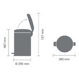 Мусорный бак newicon (20 л), Серый металлик, арт. 114069 - превью 4
