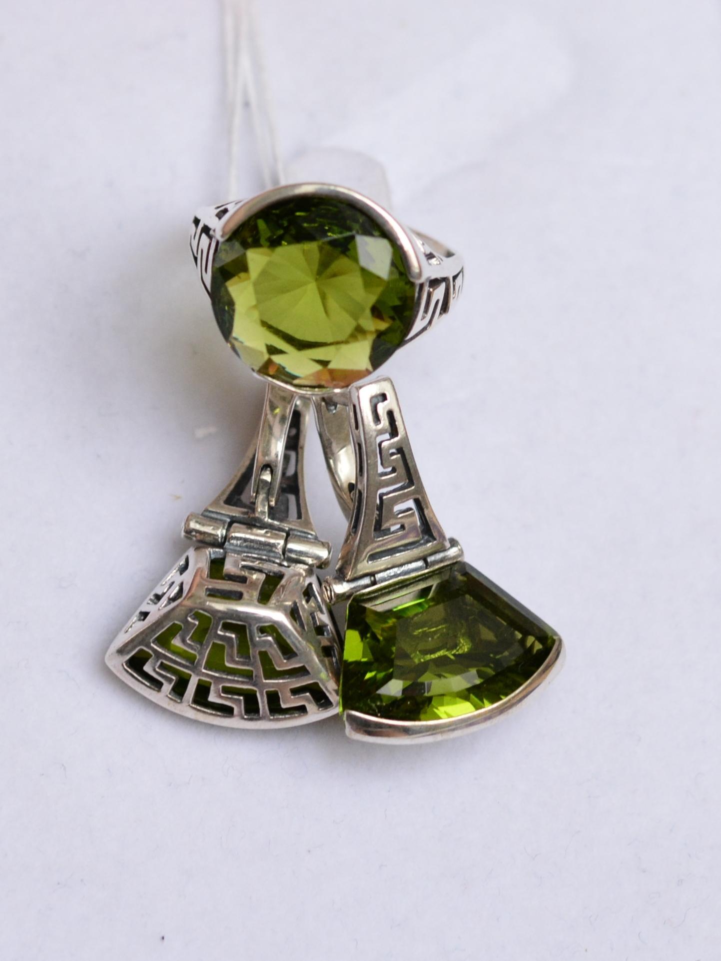 Эйфель (кольцо + серьги из серебра)