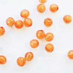 Бусина акриловая шарик с огранкой оранжевый 7 мм, 10 штук