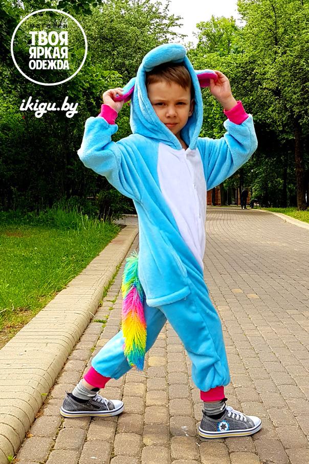 """Детские пижамы кигуруми """"Единорог Бирюзово-Радужный"""" uni_rad_bir2.jpg"""
