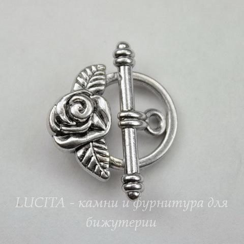 """Замок - тоггл из 2х частей """"Роза"""" 19x17 мм, 23х7 мм (цвет - античное серебро)"""