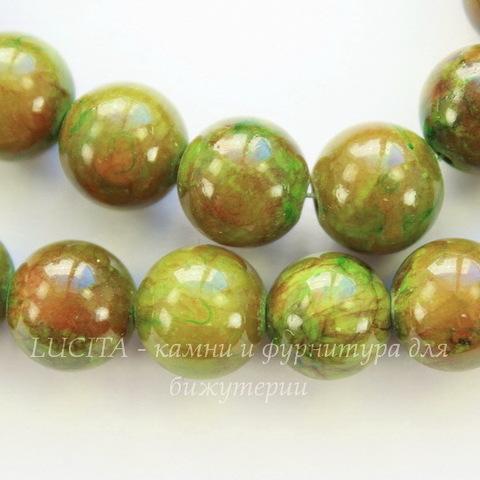 Бусина Жадеит (тониров), шарик, цвет - оливковый, 10 мм, нить