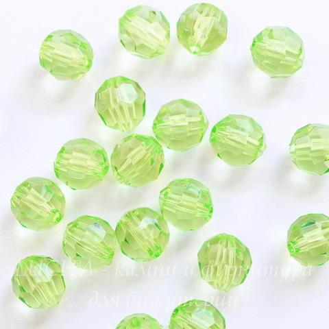 Бусина акриловая шарик с огранкой зеленый 10 мм, 10 штук