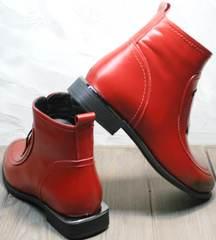 Ботинки женские демисезонные кожаные Evromoda 1481547 S.A.-Red