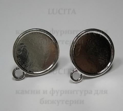 Пуссеты - гвоздики с сеттингом для кабошона 16 мм (цвет - серебро)(с заглушками)