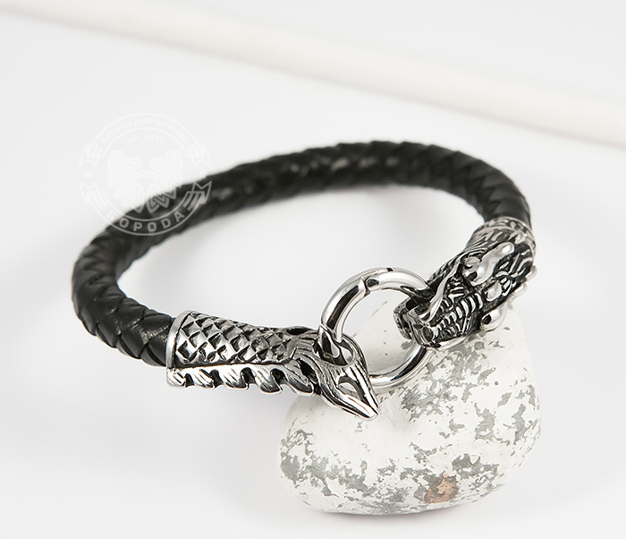 BM414 Оригинальный браслет из кожи со стальным драконом (19 см)