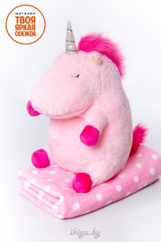 Сказочный Единорог с пледом Розовый