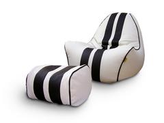 Комплект кресло вайпер Бело-Черный и пуф бочка